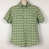 Royal Robbins Men's L Shirt Green Plaid Button Front Short Sleeve Pockets Nylon