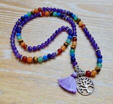 6mm Natural Amethyst Violet Tassels 108 Beads Necklace yoga Mala meditation