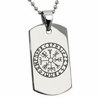 Stainless Steel Icelandic Vegvisir Viking Rune Mens Dog Tag Necklace or Keychain