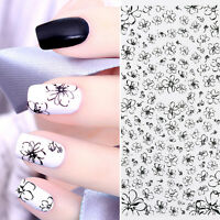 Line Flower Pattern Water Decals Black Simple Drawing Nail Art Transfer Sticker