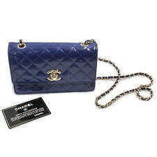 Chanel Quilted Patent Leather Classic Mini Flap Cross Body Bag - Navy Blue