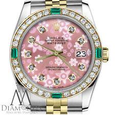 Ladies Rolex 31mm Datejust 2 Tone Glossy Peach Flower Emerald Diamond Accent