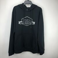 RVCA Men's Banner Hex Hooded Sweatshirt Fleece Hoodie Sweater Black Size Large