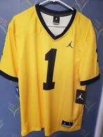 New Michigan Wolverines #1 Jordan Dri Fit Football Jersey Men's Large Free Ship