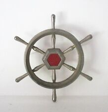 1955 1956 Packard Clipper Glove Box Dash Emblem Ship's Wheel ~ Original