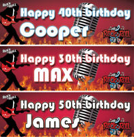 2 personalised birthday banner rock n roll music adults dance party decoration