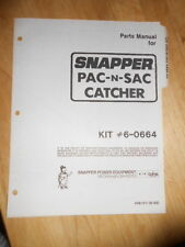 NOS Snapper Factory Parts Manual Pac N Sac Catcher 9/1985 #06121