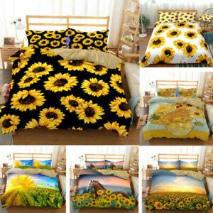 Sunflower Print Quilt Duvet Cover With Pillowcases Bedding Set Double
