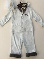 Wendy Bellissimo Baby Boy Cardigan Pants Hat Set Size 6-9 Months Blue Layette