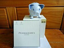 More details for penhaligon's piggy bank blue hand painted bone china money box - mint & boxed