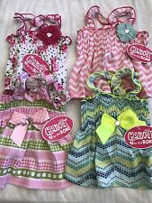 Lot Of 4 Dog Dresses Size XS Roses Dots Green Pink Bows Flowers