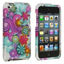 For Apple iPod Touch 4 Rubberized HARD Protector Case Cover Purple Blue Flowers