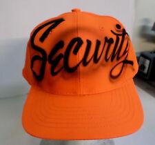 Bright Orange SECURITY Custom Airbrush Airbrushed Cap Baseball Adult Size Hat
