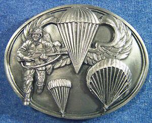 "1990 Army ""Airborne - The Ultimate Challenge"" Parachute Belt Buckle Siskiyou U89"