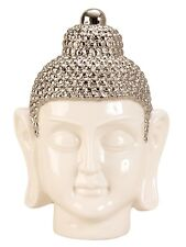 escultura moderna Buda cabeza de porcelana en blanco/PLATA altura 24,5 cm
