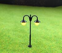 S528 - 10 Stück Straßenlampen 5cm mit LED 12-19V 2-flam Bogenlampen Parkleuchten