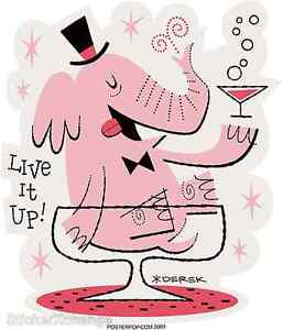 Live It Up! Elephant Sticker Decal Derek Yaniger DY20