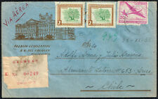 1095 Uruguay To Chile Registered Air Mail Cover 1955 Montevideo - Arica