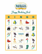 The Little Mermaid Ariel Personalized Birthday Party Game Bingo Cards