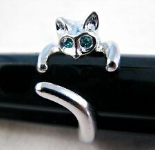 """Adorable Cat Ring- """"Blue Crystal Eyes"""" -Adjustable- FREE Gift Pouch- U.S. SELLER"""