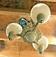 Art Deco Antique Vintage Ceiling Light Fixture CHANDELIER 3 bulb with shades