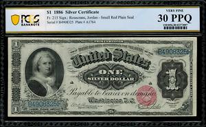 1886 $1 Silver Certificate FR-215 - Martha - Graded PCGS 30 PPQ - Very Fine