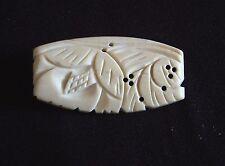Vintage Floral Flowers Bone Carved Brooch Pin C Clasp