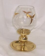PartyLite Tuscany Lamp Handpainted 24K Gold Etched Glass Solid Brass Base