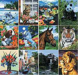 18 DESIGNS CANVAS PAINT BY NUMBERS ARTIST PAINTING KITS Animals Landscapes & Sea