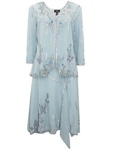 Midnight Velvet Blue Formal Mother of the Bride Wedding Beaded Jacket Dress S