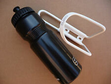 BOTTLE & CAGE Black Bottle & White Cage Water Bicycle MTB Road Bike ETC & Clarks