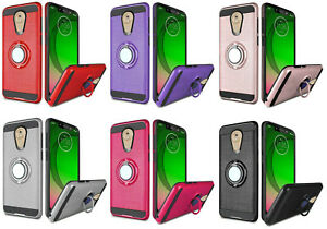 For Motorola G7 Optimo XT1952DL Magnetic Ring Stand Hybrid Case Phone Cover