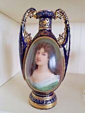 """Royal Vienna Cobalt Portrait Vase 11""""  Signed"""