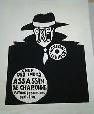 AFFICHE ANCIENNE MAI 1968 FREY ACTION CIVIQUE ASSASSIN DE CHARONNE