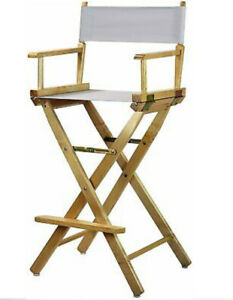 "30"" Directors Chair Natural Frame-White Canvas New"