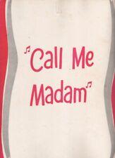 """Elaine Stritch & Kent Smith   """"Call Me Madam""""   Souvenir Program  TOUR   1952"""