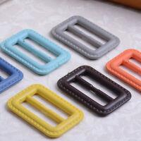 20X Faux Leather Plastic Rectangle Slider Buckles For Coat Skirt Bag Ribbon Belt