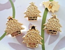 "15pcs Novelty Theme Button Large X""mas Tree Golden Electroplate Plastic 30mm"