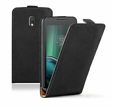 SLIM BLACK Leather Flip Case Cover Pouch For Mobile Phone Motorola Moto G4 Play