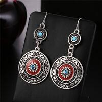 Bohemia Ear Stud Drop Dangle Earrings Long Ethnic Round Earrings Women Jewelry >