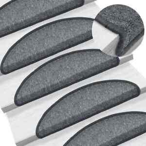 vidaXL 15x Carpet Stair Treads Dark Grey 56x17cm Step Rug Protector Sheet