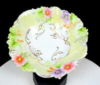 """RS PRUSSIA MOLD #54 PINK AND PURPLE FLORAL GILT ACCENTS 10 1/8"""" BOWL"""