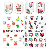 2X Nail Art Water Decals Dessert Colorful Manicure Transfer Stickers Tips Decors
