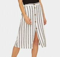 Sanctuary Womens Skirt White Size XS Straight ButtonFront Striped $99- 676
