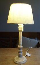 TISCHLAMPE 41cm STOFF LAMPENSCHIRM RUND weiss + HOLZFUSS natur E27  40 Watt A++