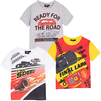 Official Disney Boys Kids Cars Character T Shirt Short Sleeve Top 2 to 8 Years
