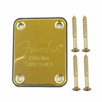 NECK PLATE  Standard -GOLD- STRAT - TELE - Pbass Jbass - with logo