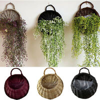 Wall Fence Hanging Planter Plant Flower Pot Handmade Rattan Basket Garden Home