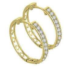 14K Solid Gold Hoops Earrings 0.50 ct Round Diamond 0.80 Inch