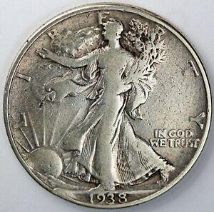 1938-D United States Walking Liberty Half Dollar - F Fine Condition